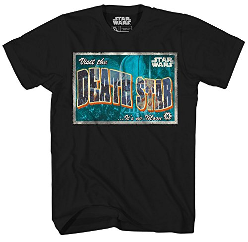 Death Star Post Card Darth Vader Princess Leia Luke Skywalker X-Wing Star Wars Logo Adult Mens Graphic Tee T-shirt Black (Medium)