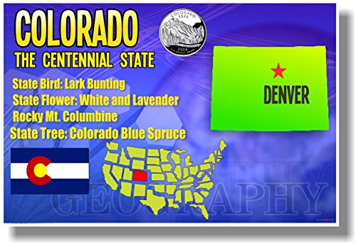 Colorado Geography - NEW U.S Travel Poster (State Denver Capitol Co)