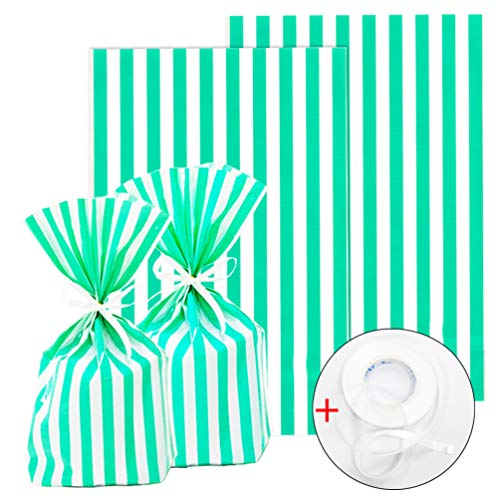 (ADIDO EVA 100 Packs Green Cellophane Bags Stripes Cookie Bags with Ties Clear Plastic Goodie Bags for Dessert Cookie Candy Snack Wrapping Party Favor Bags (8 x 5.5 x 2)