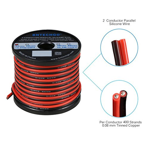 BNTECHGO 14 Gauge Flexible 2 Conductor Parallel Silicone Wire Spool Red Black High Resistant 200 deg C 600V for Single Color LED Strip Extension Cable Cord,Model,Lead Wire 50ft Stranded Copper Wire