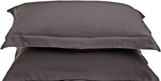 Ethereal Bedding 300 Thread Count 2 PCs Oxford Pillow Shams Euro Size 65 cm x 65 cm 26 x26 inches Gray Solid 100 Cotton