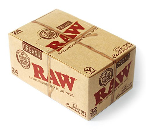 Raw Organic Connoisseur 1.25 1 1/4 Rolling Paper with Tips Full Box of 24 Packs