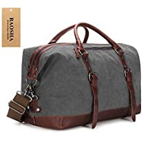 BAOSHA HB-14 Oversized Canvas Weekender Bag Travel Carry On Duffel Tote Bags Weekend Overnight Travel Bag Unisex Travel Holdall Handbag (Grey)