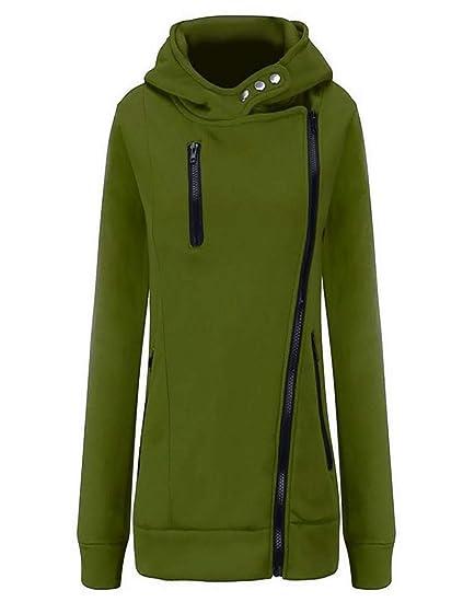 b894de2e6e2 Amazon.com  Esqlotres Women Casual Solid Long Sleeve Zipper Hoodie High  Neck Pullover Sweatshirt Fashion Hoodies  Sports   Outdoors