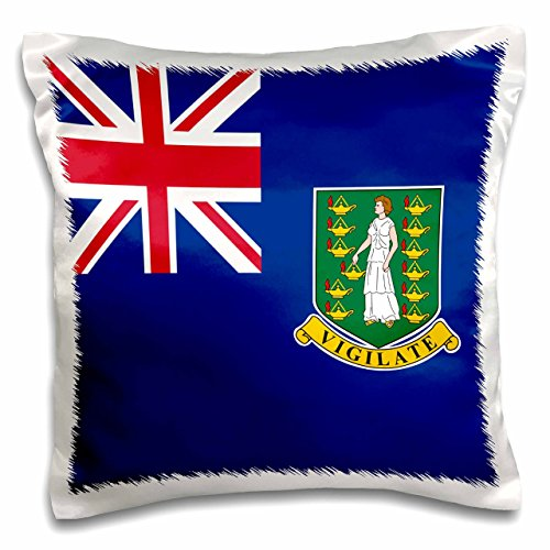3dRose Flag of the British Virgin Islands British Union Jack on blue with Saint Ursula shield coat of arms - Pillow Case, 16 by 16-inch (pc_158450_1)