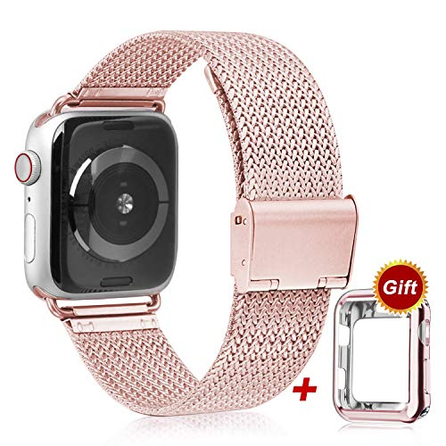 VATI Compatible with Apple Watch Band 38mm 40mm 42mm 44mm with Watch Case Cover, Sport Strap with Protective Case for iWatch Series 1/2/3/4 (Rose Gold)