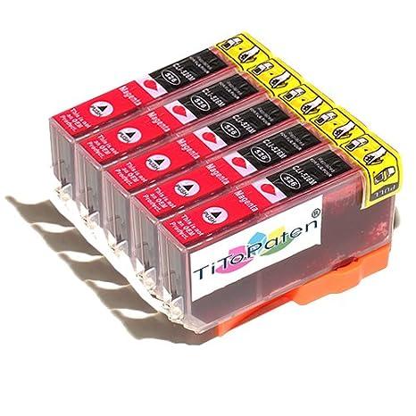 *TITOPATEN* - 5x Canon Pixma MG 5350 kompatible XL Druckerpatrone - Magenta - Patrone MIT CHIP !!!Hohe Laufleistung!!!
