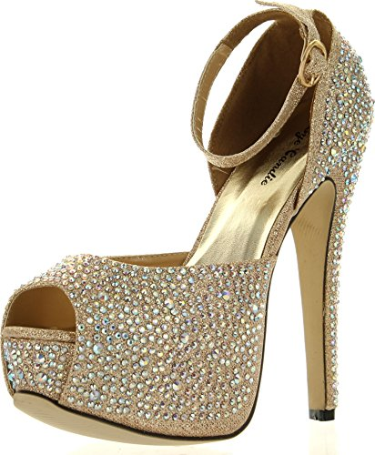 Eye Candie Womens Juliana-77 Shiny High Heel Fashion SandalGold10