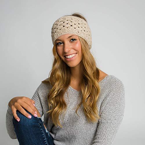 Surhilo Miraflores Alpaca Knit Head Warmer - Ivory - Winter Luxury Handmade Headband