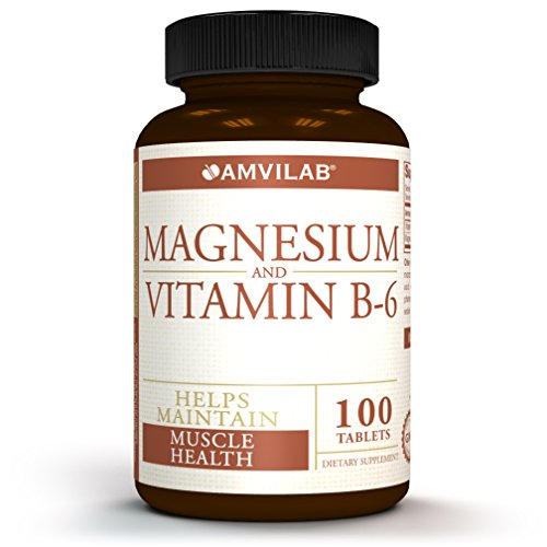 Amvilab Magnesium and Vitamin B6-Promotes Bone Mineralization, Helps to Support Nerve and Muscle Function. Excellent for Men and Women, 100 Tablets per Bottle