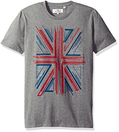 Ben Sherman Men's Union Jack Graphic Tee, Silver Chalice Marl, Large