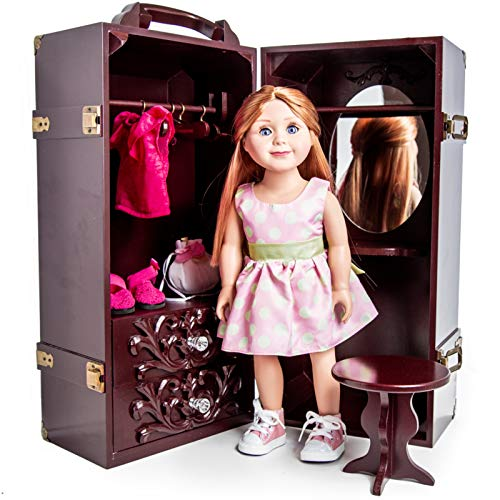 The Queen's Treasures Doll Trunk Storage Case for 18 Inch Dolls, Clothing, Shoes & Accessories.Mahogany Stained Wood with Removable Vanity, Stool Plus 4 Clothing -