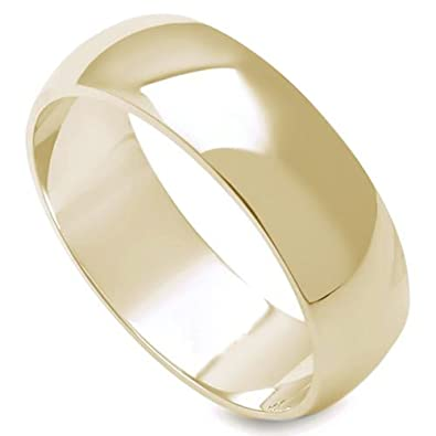 3d6cb84789e Crazy2Shop 6MM Stainless Steel Yellow Gold Plated High Polished Comfort Fit  Traditional Dome Wedding Ring (