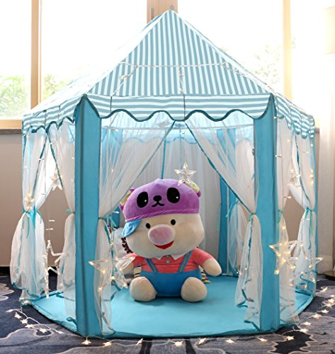 Monobeach Kids Play House Princess Tent - Indoor and Outdoor Hexagon Pink Castle Play Tent for Girls with LED Light (Blue)