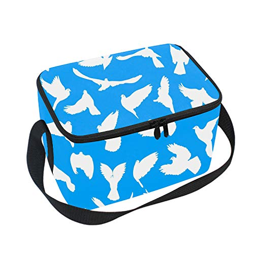 Insulated Waterproof Lunch Tote, Classic Durable Picnic Bag Love Or Peace Doves