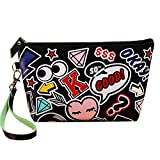 Happy Hours - Portable Waterproof PU Leather Organizer Makeup Bag Toiletry Pouch / Modern Printed Handle Top Zipped Cosmetic Case for Dating, Party, Anniversary and Travel(Cartoon in Black)