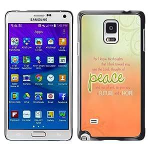 TECHCASE**Cubierta de la caja de protección la piel dura para el ** Samsung Galaxy Note 4 SM-N910 ** Peace Peach Orange Green Floral Message