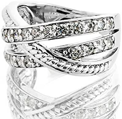 Palladium Sporty Criss Cross Round Diamond ring with rope detailing 3/4 CTW near-colorless Color SI1-SI2 Clarity