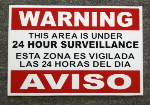 VINBOX Security Video Surveillance Warning 24 Hr Coroplast Sign 8x12 Spanish English from VINBOX