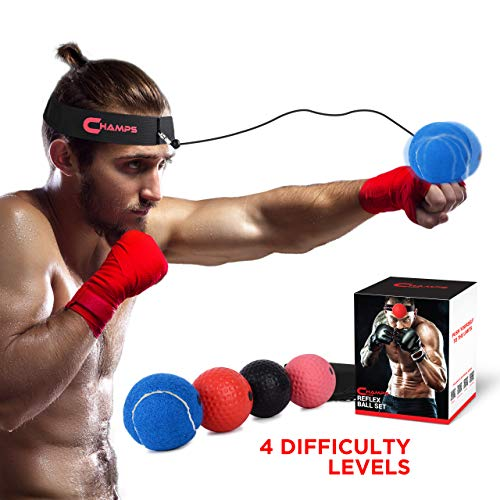 Champs Boxing Reflex Ball Boxing Equipment Fight Speed, MMA Boxing Gear Pro Punching Ball - Great for Reaction Speed and Hand Eye Coordination Training Reflex Bag Alternative ...