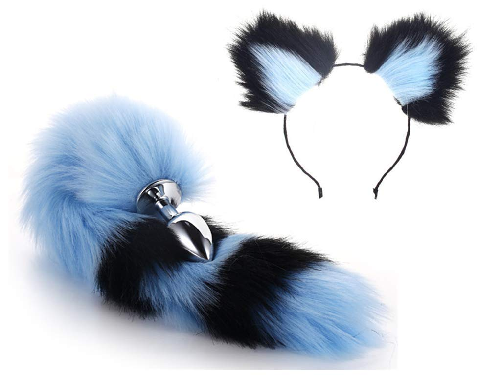 Pop-Up Game Halloween Party Toy Love Role-Playing Gift Clothing Set, Metal Fox/dog Tail Plug + Short Plush Ear Cat Women's Headwear (Blue And Black) (a)