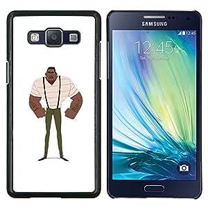"For Samsung Galaxy A5 ( A5000 ) 2014 Version Case , Hombre del músculo Negro Fuerte Arte Tirantes Pintura"" - Diseño Patrón Teléfono Caso Cubierta Case Bumper Duro Protección Case Cover Funda"