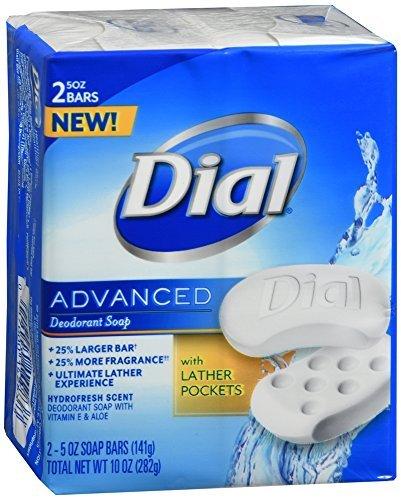 Dial Advanced Deodorant Soap Bars Hydrofresh Scent, 10 OZ