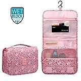 New Hanging Toiletry Bag Bathroom Organizer Travel Nylon Portable Cosmetic Bag for Women and Men(Pink Rabbit)