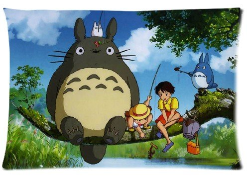 Hot Japanese Anime Series Pillow Cover Tonari No Totoro Double Sides Diy Printed Design Custom Zippered Rectangle Pillow Case 16''x24'' 20''x30'' for Sofas & Beds (16x24inch, LM#12) - 16' Zippered Throw Pillow