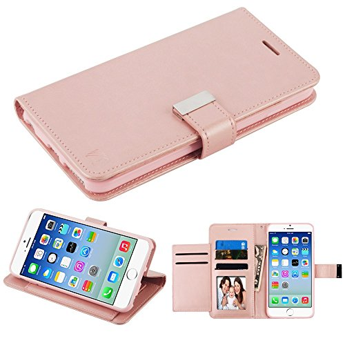 (Case+Tempered_Glass, Fits Apple iPhone 7 Plus/8 Plus (Also Fits 6 Plus/6S Plus) Mybat 3-Layer Purse/Clutch with Extra Card Slots PU Leather MyJacket Wallet - Rose Gold)