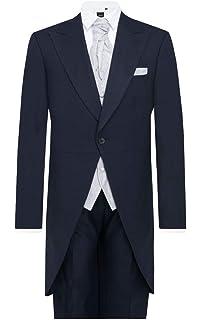 dbae7a32ca36 Dobell Mens Navy Herringbone 2 Piece Morning Suit Regular Fit Matching Pants