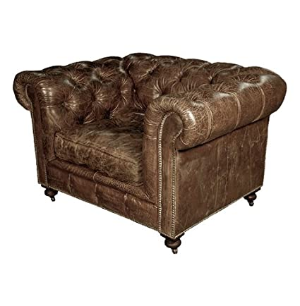Kathy Kuo Home Kensington Chesterfield Leather Arm Chair In Vintage Cigar