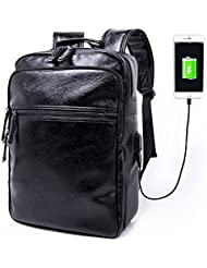 Anti Theft Sturdy PU Leather Functional Business Travel Laptop Backpack with USB Charging Port Black