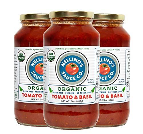 Nellino's Organic Pasta Sauces - Low Acidic, Keto, No Sugar Added, Certified Gluten Free, Certified Vegan, True Premium Flavor (24 oz) (Tomato Basil, 3 Pack)