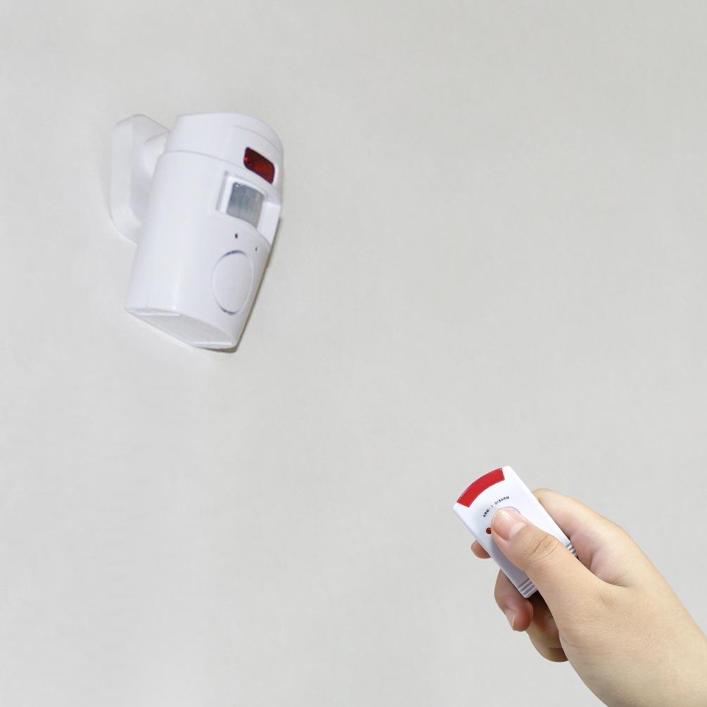 4VWIN Sensor de movimiento inalámbrico, con alarma, 2 mandos a distancia, Prevención de la delincuencia, para puerta delantera/trasera garaje cobertizo, ...