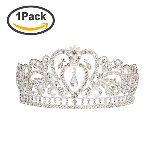 ANBALA Wedding Prom Bridal Tiara Crown, Luxury Bling Crystal Bridal Headband Prom Queen Pageant Princess Crown Hair Accessories for Women (Silver)
