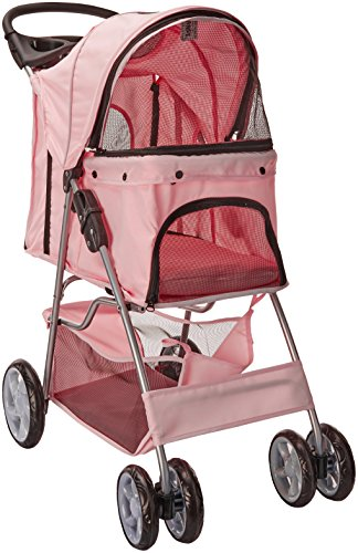 OxGord Pet Stroller Cat/Dog Easy Walk Folding Travel Carrier Carriage, Rose Wine from Paws & Pals