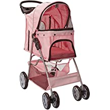 OxGord Pet Stroller Cat/Dog Easy Walk Folding Travel Carrier Carriage, Rose Wine