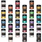 U.S. Art Supply Jewelescent 24 Color Mica Pearl Powder Pigment Master Set Kit, 2 oz (57g) Shaker Bottles - Cosmetic Grade, Non-Toxic Metallic Color Dye - Paint, Epoxy, Resin, Soap, Slime Making, Art