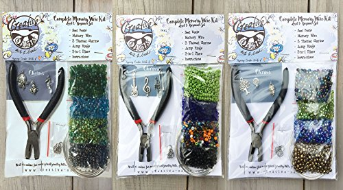 SET OF 3!! Complete Memory Wire Bracelet Making Kits for Teens & Adults! Starter Kits for Beginners. Three Individual Color Themes, Charms & Plier Tools. (Earth Tones ()