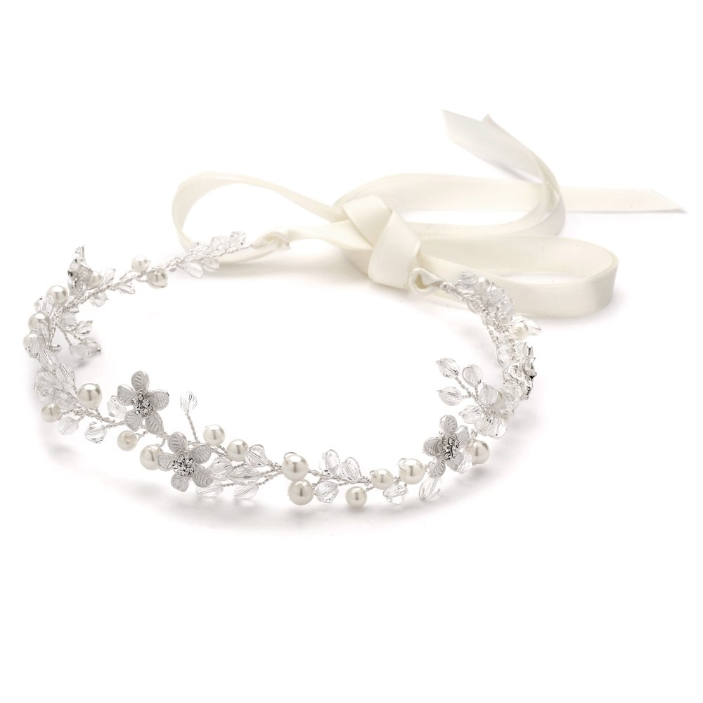 Mariell Crystal Bridal or Wedding Halo Headband with Silver Flowers, Ivory Pearls and Ivory Satin Ribbon