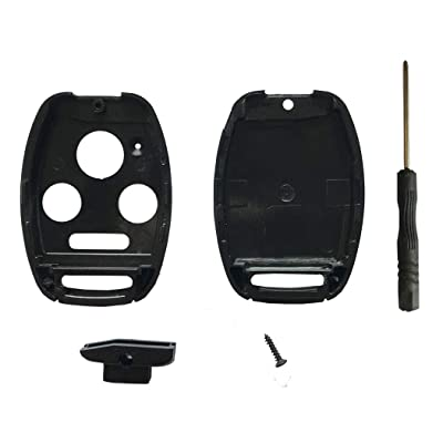 Cutting Not Required - Replacement Key Fob Shell Case Fit for Honda Accord Civic Ex Pilot CR-V 4 Buttons Keyless Entry Remote Car Key Housing with Screwdriver: Automotive