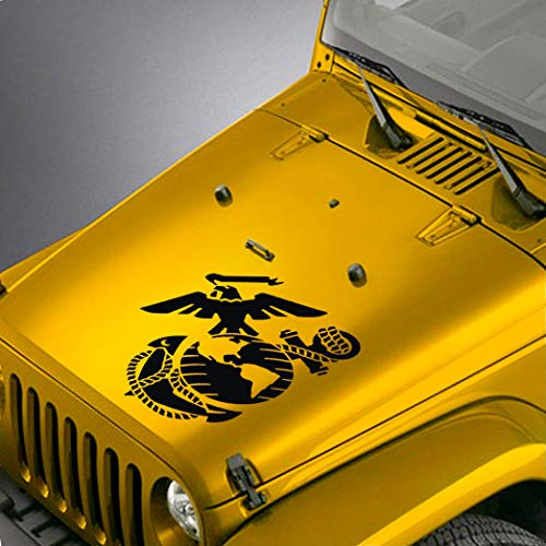 SkunkMonkey - Jeep Wrangler TJ LJ JK JKU Hood Decal - US Marine Corps USMC EGA Sticker - Matte Black ()