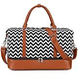 S-ZONE Women Ladies Canvas Weekender Bag Overnight Carry-on Duffel Tote Bag With PU Leather Strap (Black Wave Strips with Shoe Compartment)
