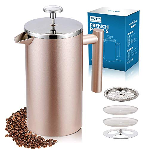 SULIVES Large Stainless Steel French Press Coffee Maker Double Wall Vacuum Insulated Stainless Steel Body- 34 oz/ 1000 ml (Champagne Gold)