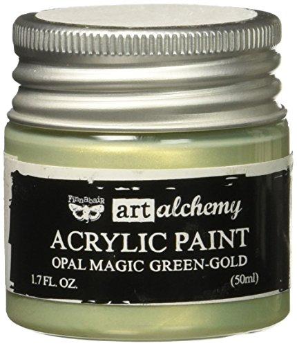 Prima Marketing 963651 Finnabair Art Alchemy Acrylic Paint, 1.7 fl. oz, Opal Magic Green/Gold