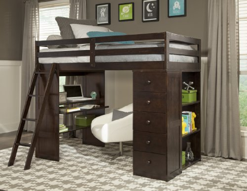 Canwood Skyway Loft Bed with Desk and Storage Tower, Twin, Espresso