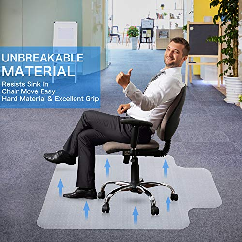 Heavy Duty Carpet Chair Mat Thick and Sturdy Transparent Chair mat for Low Pile Carpets Size 36