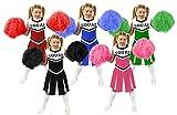 CHILDS CHEERLEADER FANCY DRESS COSTUME - GIRLS CHEERLEADER COSTUME FOR KIDS WITH POM POMS - BLUE CHEERLEADER UNIFORM (MEDIUM)