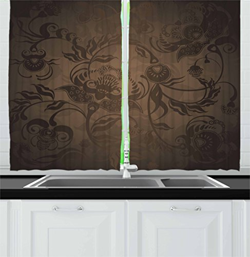 Ambesonne Victorian Decor Kitchen Curtains, Floral Paisley Ivy Design Leaves with Abstract Details Print, Window Drapes 2 Panels Set for Kitchen Cafe, 55 W X 39 L Inches, Seal Brown Chocolate